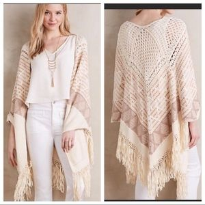 Anthropologie Moth Knit Crochet Shawl with Fringe